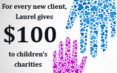 For every new client, Laurel gives $100 to children's charities